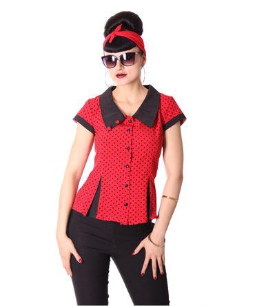 Samaira 50er retro Polka Dots 2-tone kurzarm Bluse v. SugarShock – Bild 3