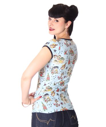 Girl Doll Pin Up Hawaii Puffärmel T-Shirt v. Liquor Brand – Bild 4