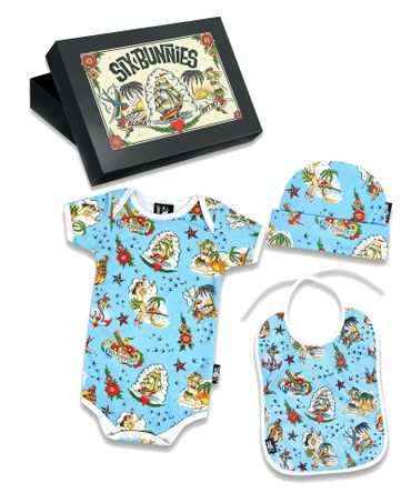 Six Bunnies Sailor Hawaii Tattoo Baby Body Strampler Geschenkset Gift Set – Bild 1