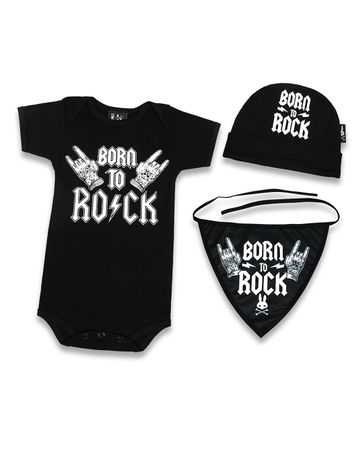 Six Bunnies Born to Rock Baby Body Strampler Geschenkset Gift Set – Bild 2