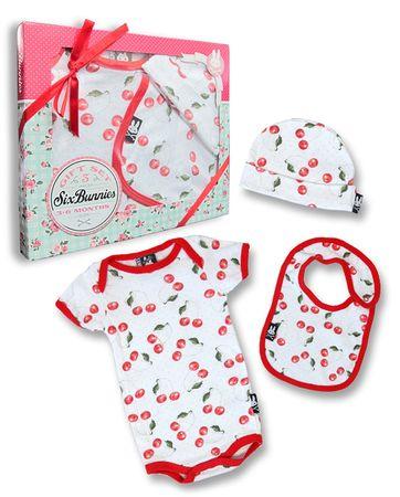 Six Bunnies Kirschen Baby Body Strampler Geschenkset Cherry Gift Set