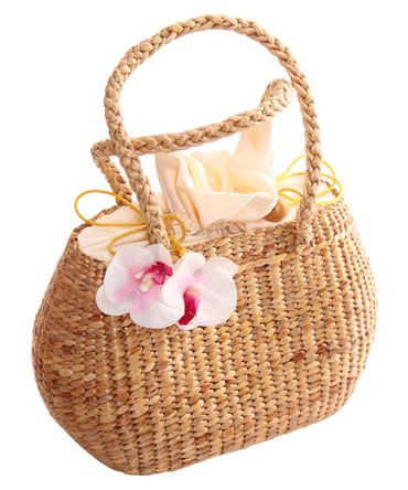 Palila Orchideen Blüten Bast Korbtasche 50er retro Korb Handtasche v. SugarShock – Bild 2