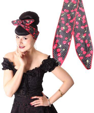 SugarShock Mandisa Cherry Polka Dots Haarband Kirschen Hairband 50s Frisuren Haarreif – Bild 1
