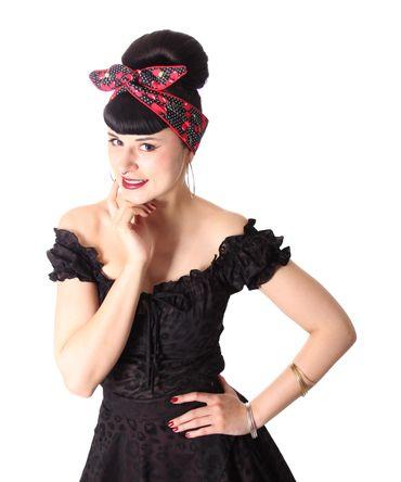 SugarShock Mandisa Cherry Polka Dots Haarband Kirschen Hairband 50s Frisuren Haarreif – Bild 3