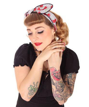 SugarShock Mandisa Cherry Polka Dots Haarband Kirschen Hairband 50s Frisuren Haarreif – Bild 5