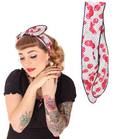 SugarShock Mandisa Cherry Polka Dots Haarband Kirschen Hairband 50s Frisuren Haarreif – Bild 6