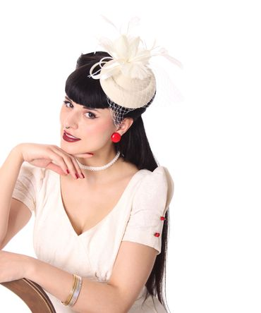 Burlesque Headpiece Fascinator Pillbox retro Mini Hut Haarschmuck – Bild 7