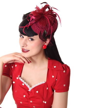 Burlesque Headpiece Fascinator Pillbox retro Mini Hut Haarschmuck – Bild 10