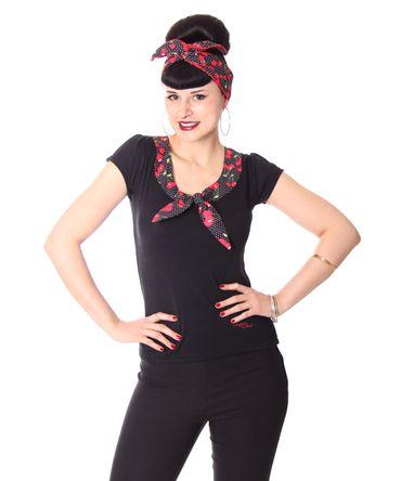 Sheren 50s retro Kirschen Kragen Cherry Puffärmel T-Shirt v. SugarShock   – Bild 1