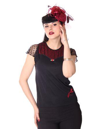 Keyla 50s retro Polka Dots Mesh Flügelärmel Shirt mit Netzeinsatz v. SugarShock – Bild 2