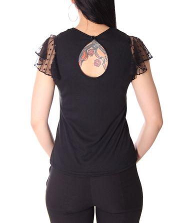 Keyla 50s retro Polka Dots Mesh Flügelärmel Shirt mit Netzeinsatz v. SugarShock – Bild 7