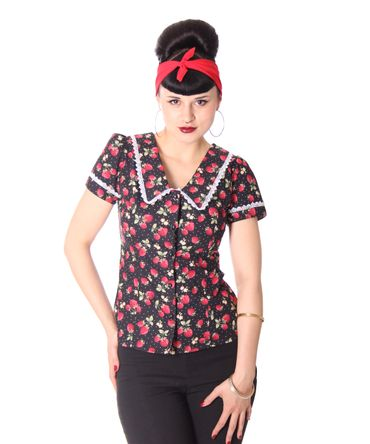 Lindsey Strawberry 50s retro Puffärmel Bluse v. SugarShock – Bild 2