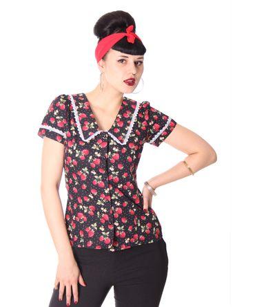 Lindsey Strawberry 50s retro Puffärmel Bluse v. SugarShock – Bild 4
