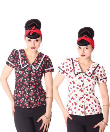 Lindsey Strawberry 50s retro Puffärmel Bluse v. SugarShock – Bild 1