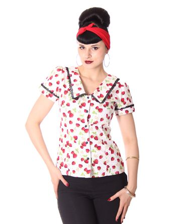 Lindsey Strawberry 50s retro Puffärmel Bluse v. SugarShock – Bild 9