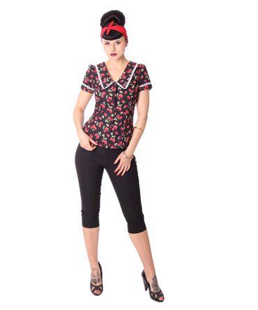 Lindsey Strawberry 50s retro Puffärmel Bluse v. SugarShock – Bild 7