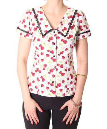 Lindsey Strawberry 50s retro Puffärmel Bluse v. SugarShock – Bild 10