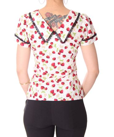 Lindsey Strawberry 50s retro Puffärmel Bluse v. SugarShock – Bild 11