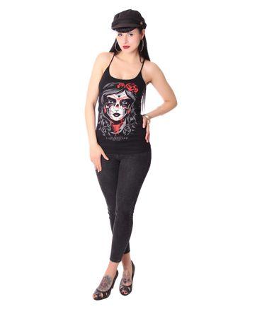 Mexican Skull Lady Spaghettiträger Tattoo Top v. Liquor Brand – Bild 3
