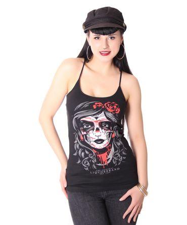 Mexican Skull Lady Spaghettiträger Tattoo Top v. Liquor Brand – Bild 1