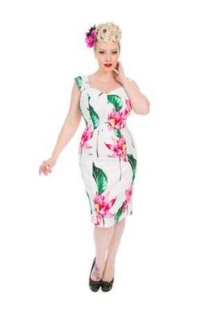 Flower 50er Jahre Sommer Pencil Kleid v. Hearts & Roses