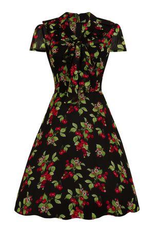 50er Jahre Cherry Schluppen V-Neck Kleid von Hell Bunny – Bild 1