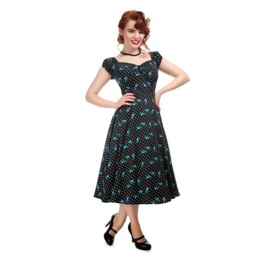 50s retro Polka Dots Tattoo Schwalben Puffärmel Petticoat Kleid v. Collectif