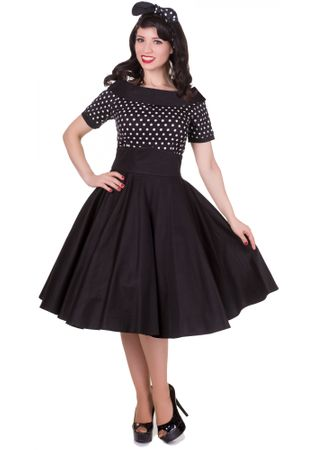 Darlene 50s retro Pünktchen Petticoat Carmen Kleid v. Dolly and Dotty – Bild 1