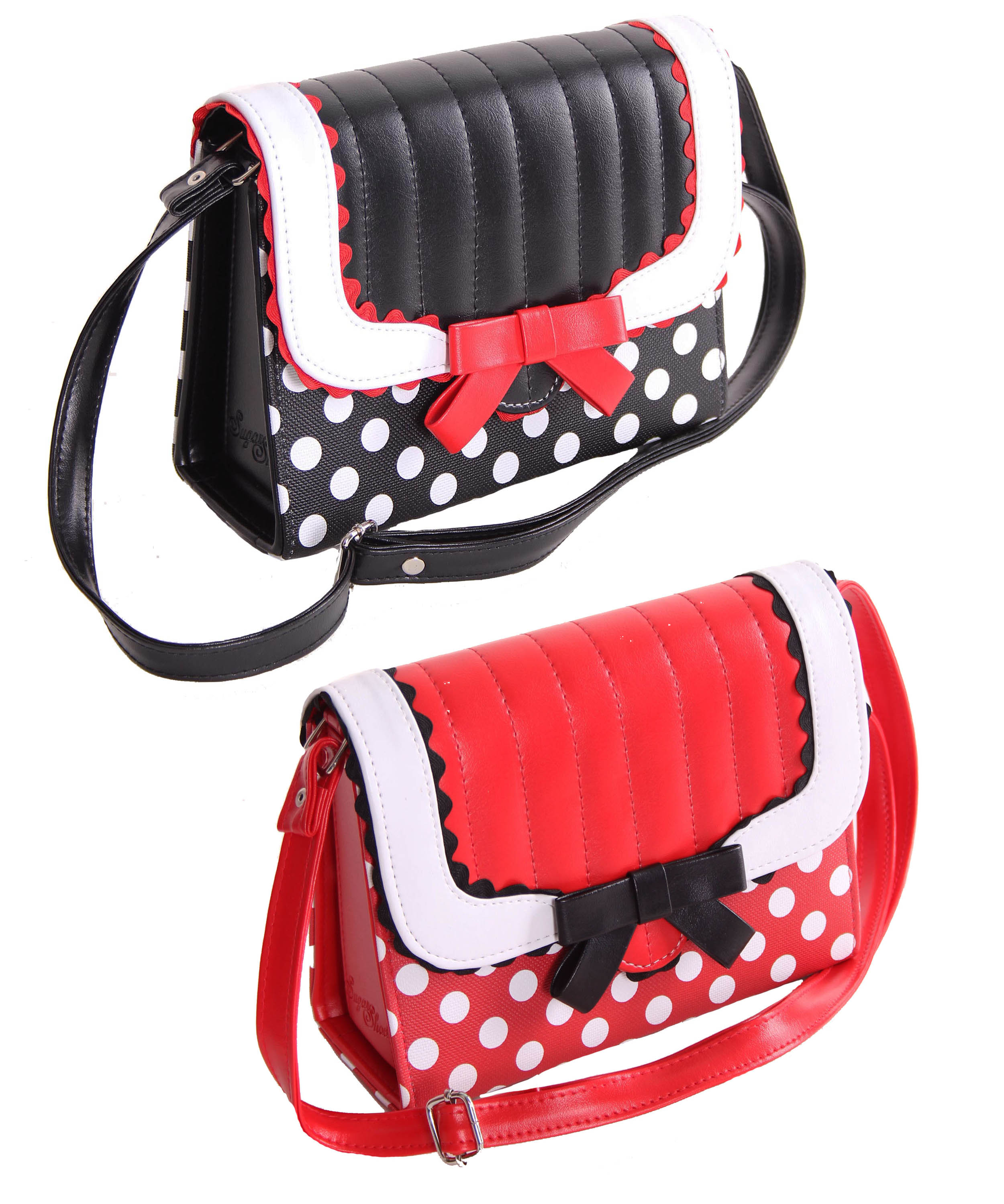 d8f62561438b7 SugarShock Soranda retro Pin Up Polka Dots Handtasche Rockabilly ...