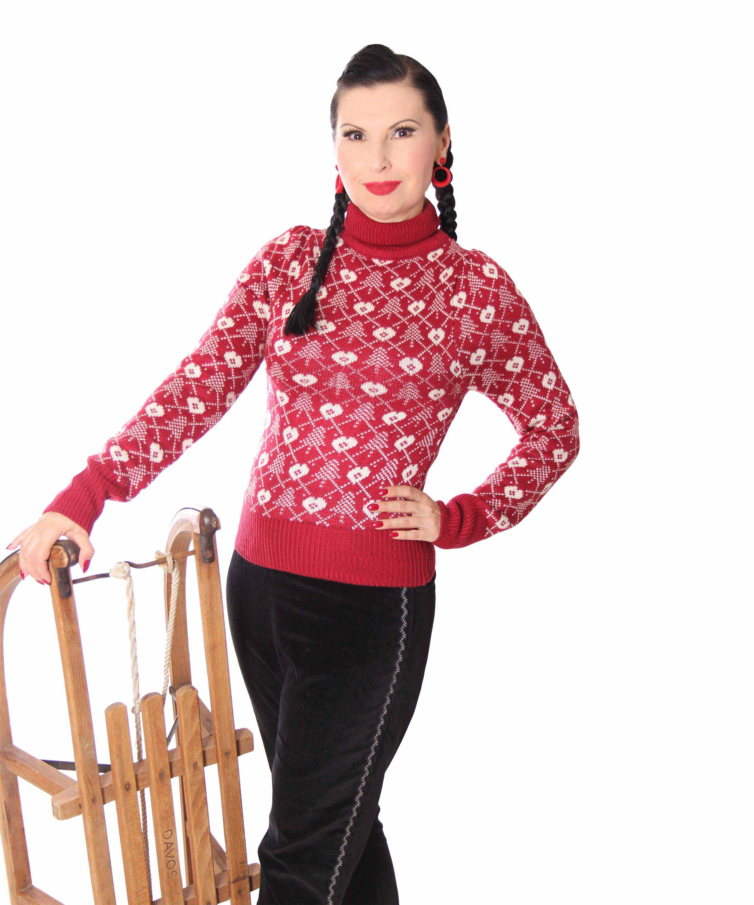 SugarShock 50er vintage retro Argyle Jumper Shirt Pullover Rockabilly Pin Up