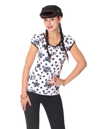 Liquor Brand Girl Doll Tattoo Skull Polka Dots T-Shirt – Bild 1