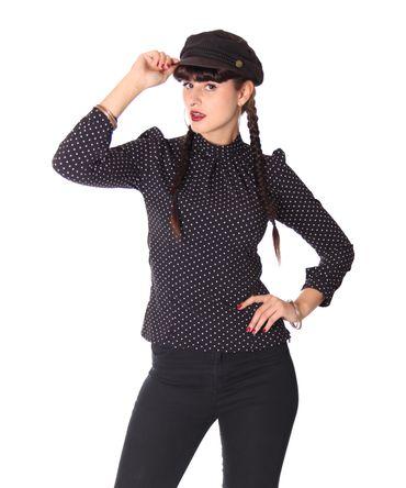 Lenia 50s retro Polka Dots langarm Stehkragen Bluse v. SugarShock