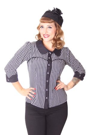 Raquel 50s retro Dogtooth 3/4 Arm Bluse v. SugarShock