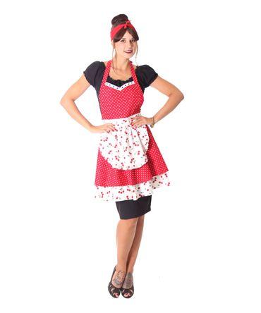 SugarShock Julissa 50er retro Polka Dots Kirschen Latz Kochschürze – Bild 2
