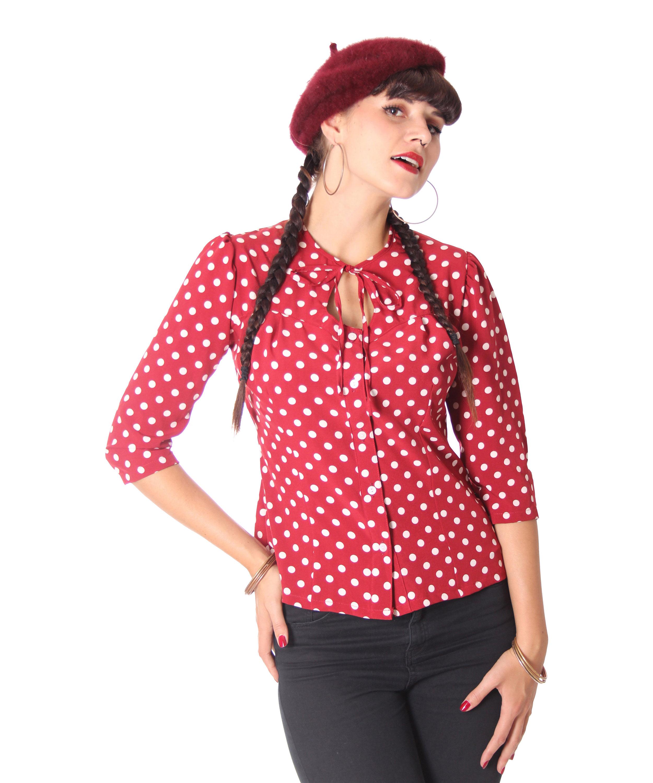34ff20ee54919c Peppina 40er Jahre retro Polka Dots Shirt 3/4 Arm Bluse v. SugarShock