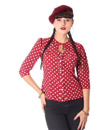 Peppina 40er Jahre retro Polka Dots Shirt 3/4 Arm Bluse v. SugarShock – Bild 2