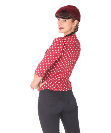 Peppina 40er Jahre retro Polka Dots Shirt 3/4 Arm Bluse v. SugarShock – Bild 4