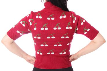 NOEMI Rockabilly Kirschen Cherry Rollkragen Pullover Rolli – Bild 5