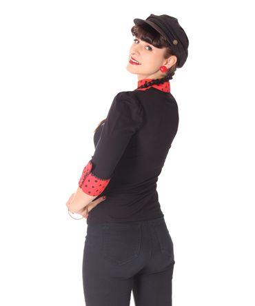 Leni retro Polka Dots Longsleeve Blusen Shirt v. SugarShock – Bild 6