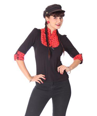 Leni retro Polka Dots Longsleeve Blusen Shirt v. SugarShock