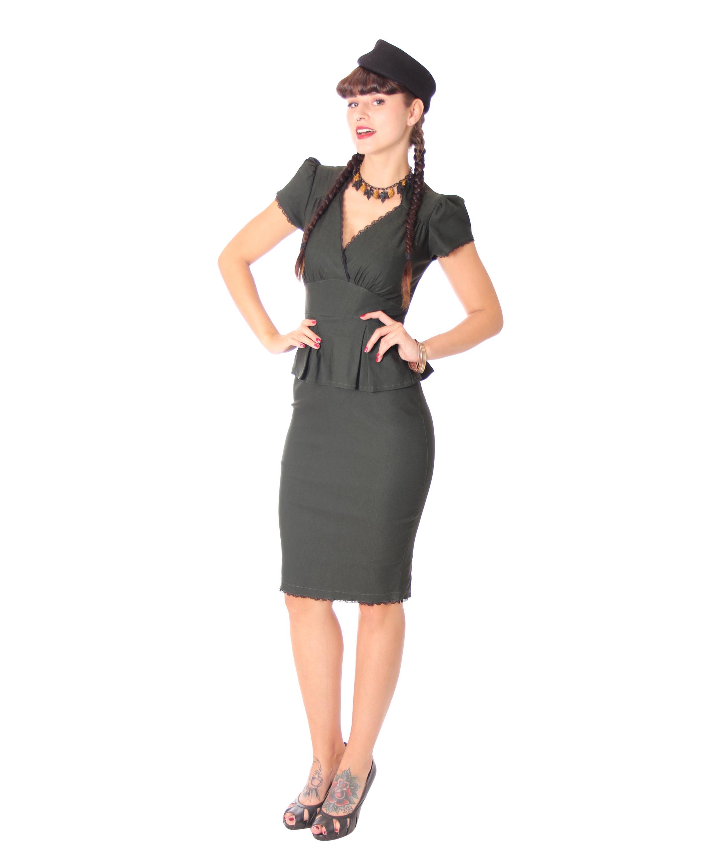 Penelope 18er retro Uniform Schößchen Pencil Kleid v. SugarShock