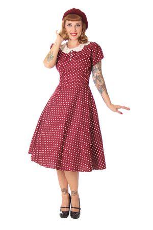 SugarShock Librada Crochet Collar 50er retro Polka Dots Petticoat Kleid