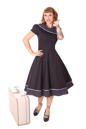 SugarShock Nieva Polka Dots Kragen 60s retro Petticoat Kleid – Bild 6