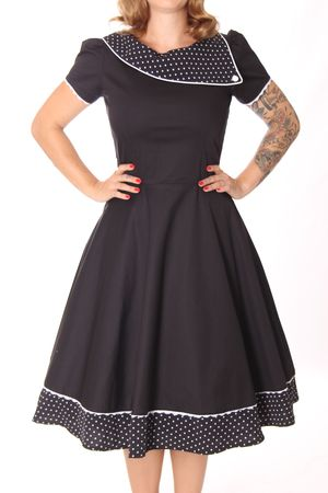 SugarShock Nieva Polka Dots Kragen 60s retro Petticoat Kleid – Bild 4