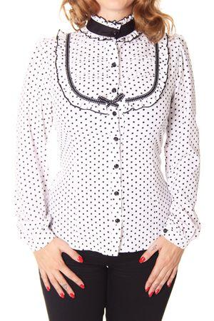 SugarShock Klea 50er retro Polka Dots Stehkragen Bluse – Bild 4
