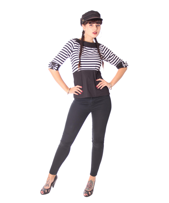 57ac3f551bf47c SugarShock Hennesa 50er retro Streifen Kragen Bluse Frauen Hemden ...