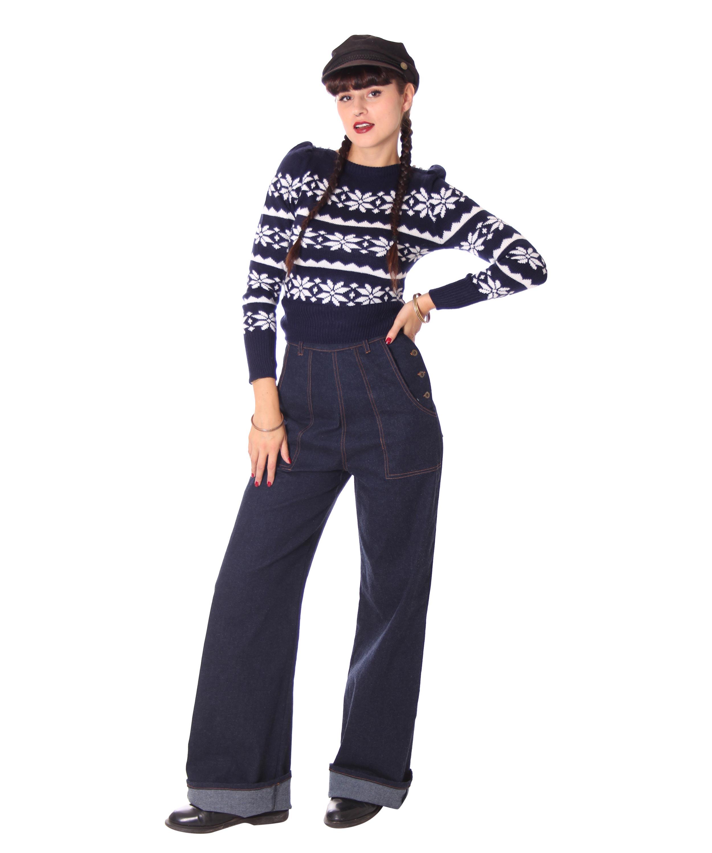 Details zu SugarShock Rubelyn High Waist 40s retro Rockabilly Jeans Buckle Marlene Hose