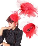 Burlesque Headpiece Fascinator Pillbox retro Mini Hut Haarschmuck m. Netz 001
