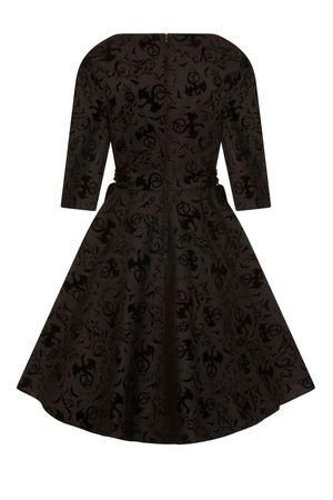 Hell Bunny 50er Jahre retro Petticoat 3/4 Arm Kleid mit Ornament Flockdruck – Bild 3