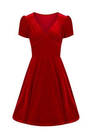 Hell Bunny 50er Jahre retro Samt Petticoat Kleid  – Bild 1